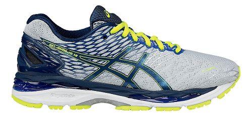 Mens ASICS GEL-Nimbus 18 Running Shoe - Silver/Ink 8