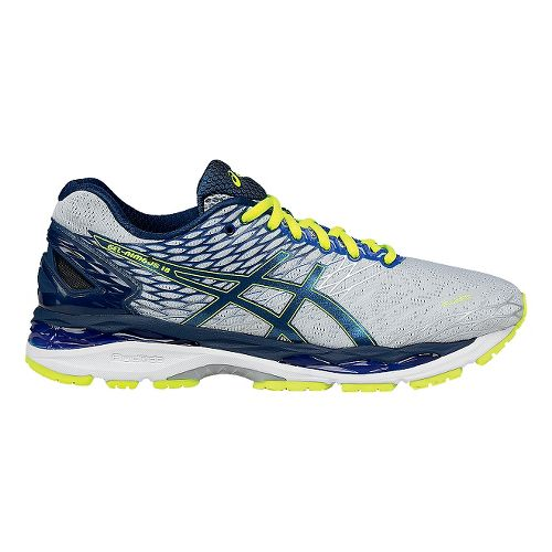 Mens ASICS GEL-Nimbus 18 Running Shoe - Silver/Ink 12.5