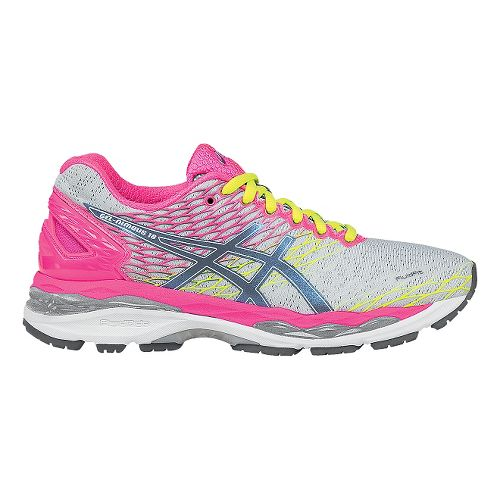 Womens ASICS GEL-Nimbus 18 Running Shoe - Silver/Hot Pink 8