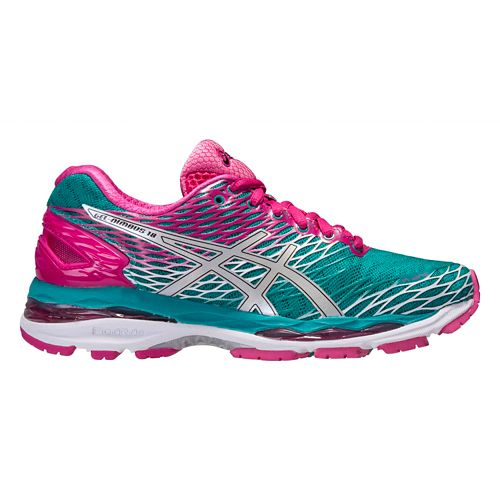 Womens ASICS GEL-Nimbus 18 Running Shoe - Green/Pink 5