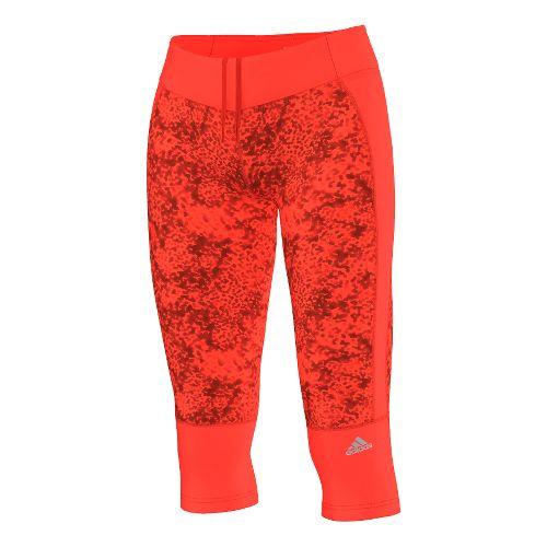 Womens adidas Supernova Clima Q4 Three-Quarter Graphic Capri Tights - Solar Red XS