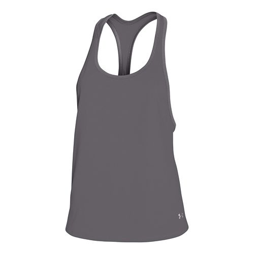 Womens Under Armour Alpha Mesh Loose Sleeveless & Tank Technical Tops - Graphite/Silver L