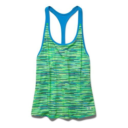 Womens Under Armour Alpha Mesh Printed Loose Tank Technical Tops - White/Hyper Green M