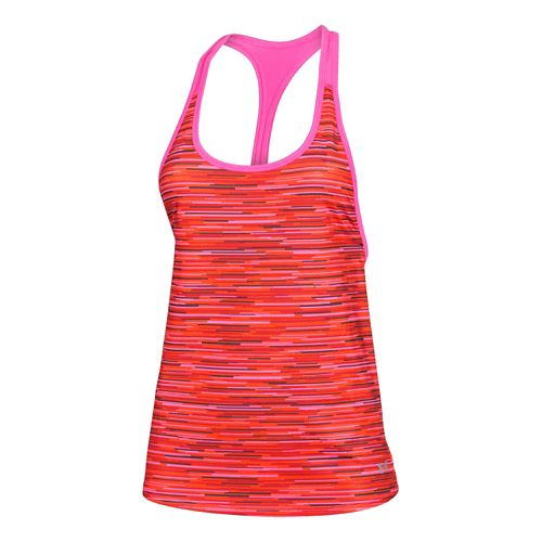 Womens Under Armour Alpha Mesh Printed Loose Tank Technical Tops - Rebel Pink/Orange XS