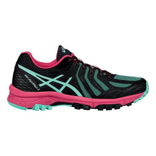 Womens ASICS GEL-FujiAttack 5 Trail Running Shoe - Black/Azalea 7.5