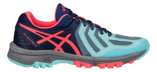 Womens ASICS GEL-FujiAttack 5 Trail Running Shoe - Aqua/Pink 9.5