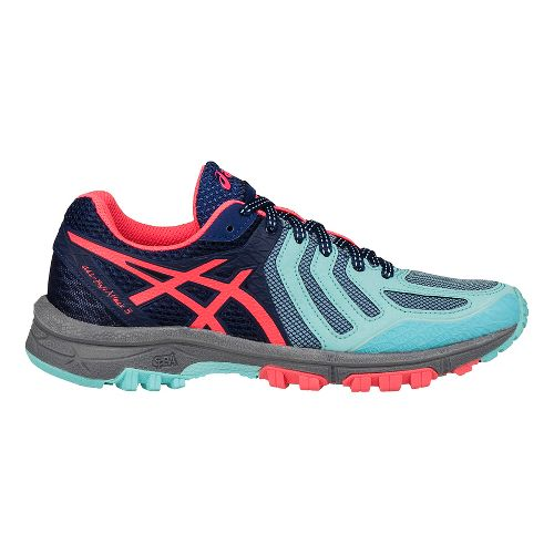 Womens ASICS GEL-FujiAttack 5 Trail Running Shoe - Aqua/Pink 6.5