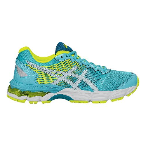 Kids ASICS GEL-Nimbus 18 Running Shoe - Turquoise/Yellow 1.5Y