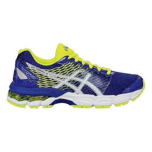Kids ASICS GEL-Nimbus 18 Running Shoe - Blue/Flash Yellow 6.5Y