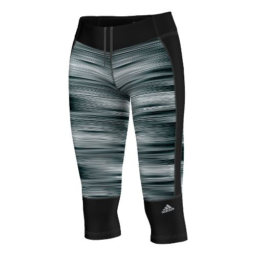 Womens adidas Supernova Q3 Three-Quarter Graphic Capri Tights - Black/Matte Silver M
