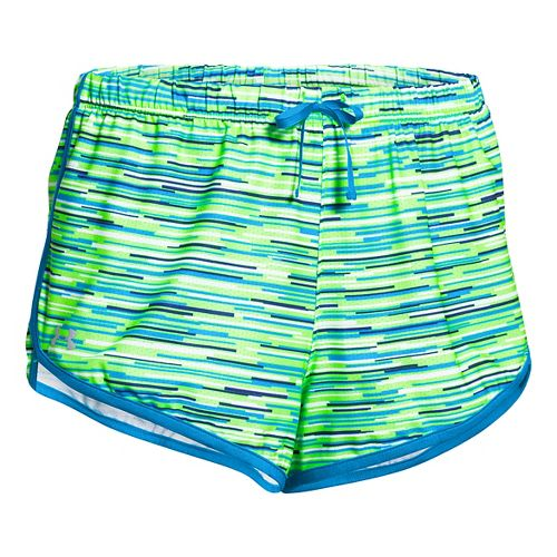 Womens Under Armour Alpha Mesh Printed Unlined Shorts - White/Hyper Green L
