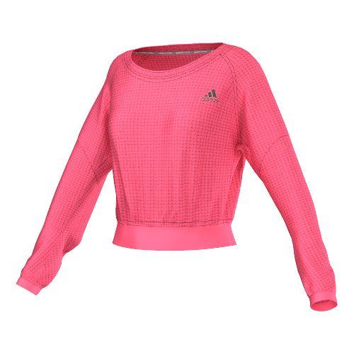 Womens adidas Sequencials Cozy Pullover Long Sleeve No Zip Technical Tops - Super Pink XL ...