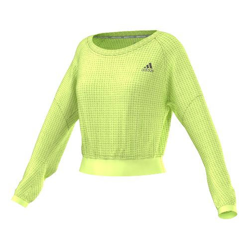 Womens adidas Sequencials Cozy Pullover Long Sleeve No Zip Technical Tops - Frozen Yellow L ...