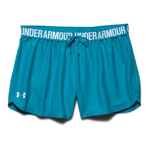 Womens Under Armour Play Up Unlined Shorts - Pacific/Silver S