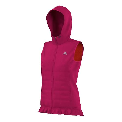 Womens adidas Sequencials Run Middler Hooded Outerwear Vests - Bold Pink XS