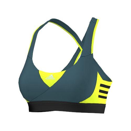 Womens adidas Go-To-Gear Supernova Sports Bras - Viridian/Yellow L