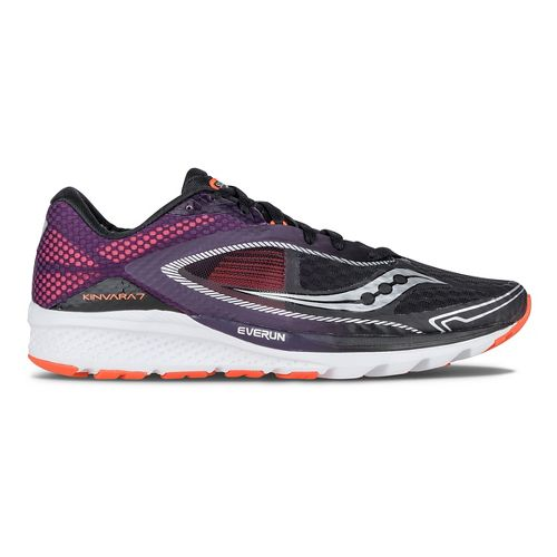 Mens Saucony Kinvara 7 Running Shoe - Black/Purple/Orange 11