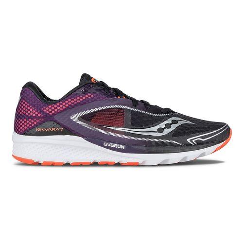 Mens Saucony Kinvara 7 Running Shoe - Black/Purple/Orange 11.5