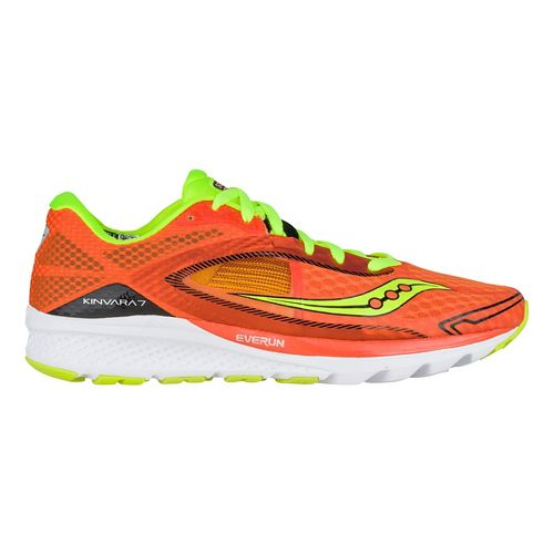 Mens Saucony Kinvara 7 Running Shoe - Orange/Citron/Black 7.5