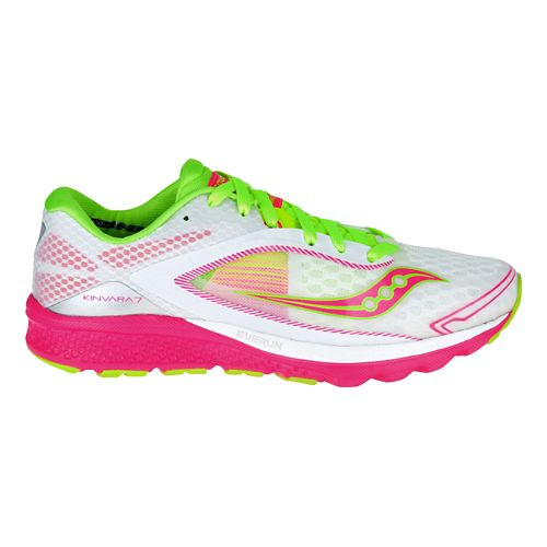 Womens Saucony Kinvara 7 Running Shoe - White/Pink 5