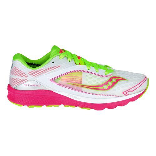 Womens Saucony Kinvara 7 Running Shoe - White/Pink 9