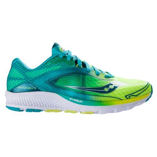 Womens Saucony Kinvara 7 Running Shoe - Teal/Citron 10.5