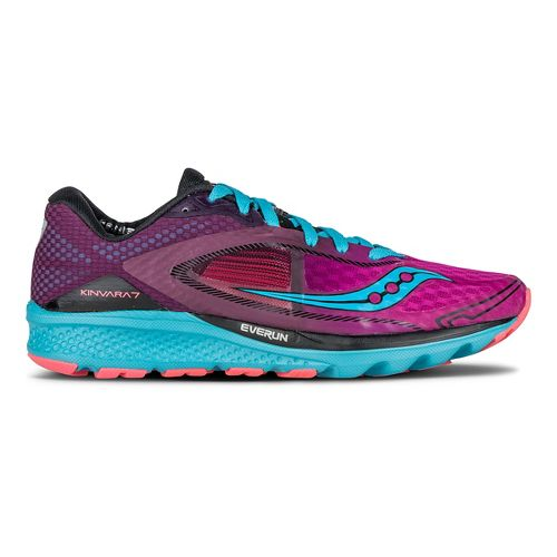 Womens Saucony Kinvara 7 Running Shoe - Pink/Purple/Blue 10
