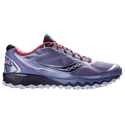 Mens Saucony Peregrine 6 Trail Running Shoe - Grey/Red 10.5