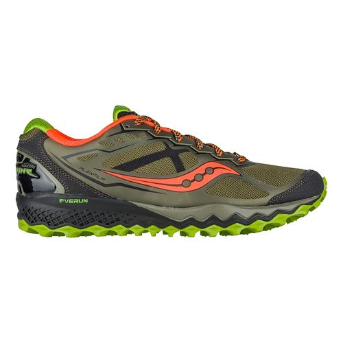 Mens Saucony Peregrine 6 Trail Running Shoe - Olive/Green/Orange 10