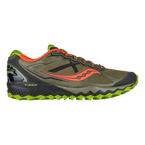 Mens Saucony Peregrine 6 Trail Running Shoe - Olive/Green/Orange 11