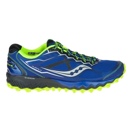 Mens Saucony Peregrine 6 Trail Running Shoe - Blue/Citron 9.5