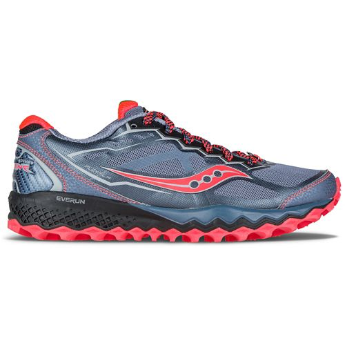 Womens Saucony Peregrine 6 Trail Running Shoe - Grey/Pink 7.5