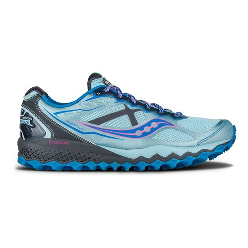 Womens Saucony Peregrine 6 Trail Running Shoe - Sky/Blue/Pink 7.5