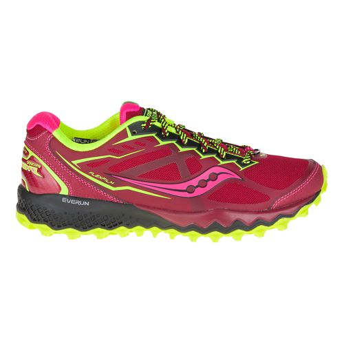 Womens Saucony Peregrine 6 Trail Running Shoe - Red/Citron 6