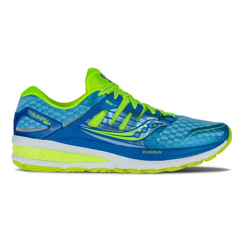 Womens Saucony Triumph ISO 2 Running Shoe - Blue/Citron 12