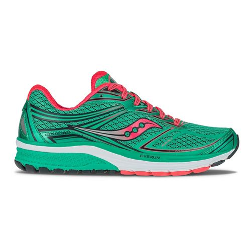 Womens Saucony Guide 9 Running Shoe - Teal/Coral 7.5