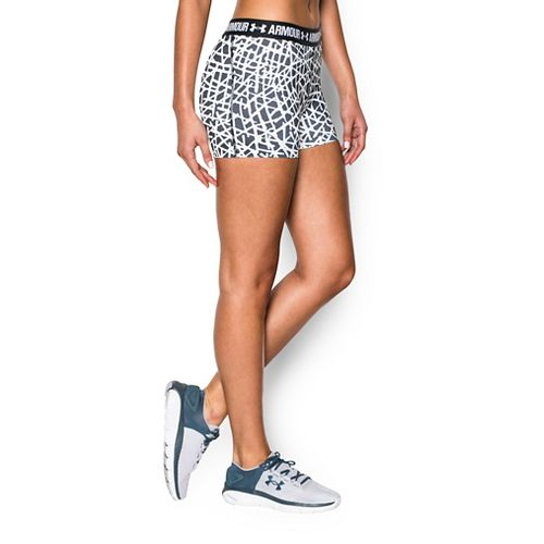 Womens Under Armour Heatgear Armour Shorty (Printed) Compression & Fitted Shorts - Black/White M