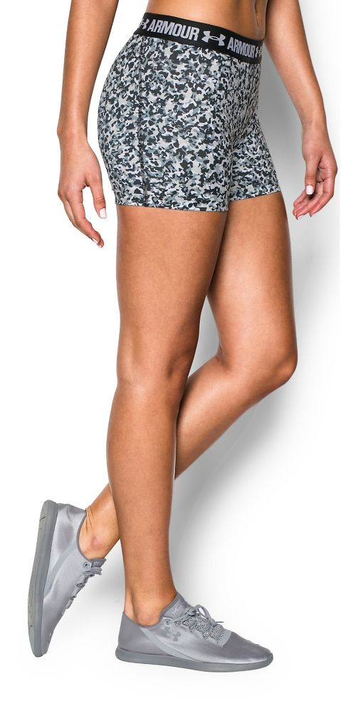 Womens Under Armour Heatgear Armour Shorty (Printed) Compression & Fitted Shorts - White/Steel S