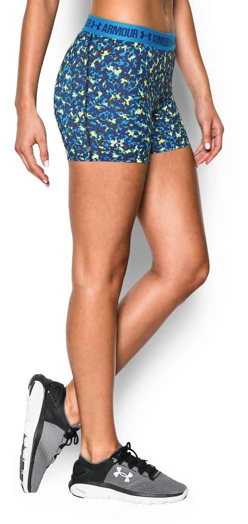 Womens Under Armour Heatgear Armour Shorty (Printed) Compression & Fitted Shorts - Dynamo Blue ...