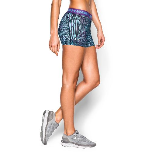 Womens Under Armour Heatgear Armour Shorty (Printed) Compression & Fitted Shorts - Magenta/Sky ...