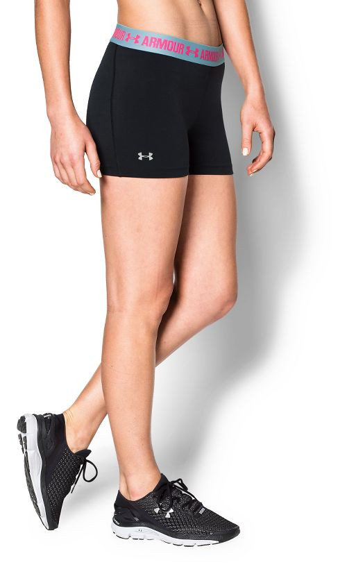 Womens Under Armour Heatgear Armour Shorty Compression & Fitted Shorts - Black/Sky Blue M