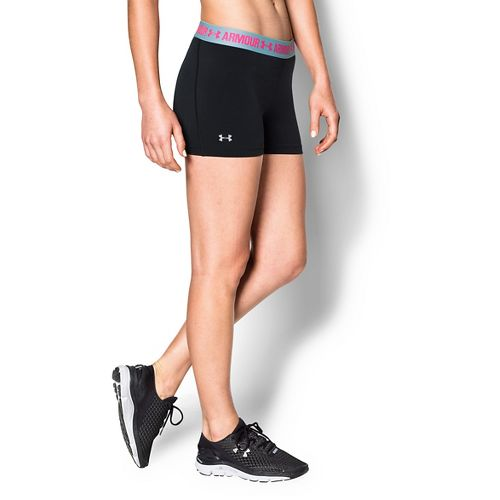 Womens Under Armour Heatgear Armour Shorty Compression & Fitted Shorts - Black/Sky Blue XL