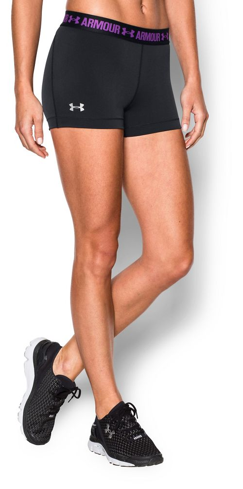 Womens Under Armour Heatgear Armour Shorty Compression & Fitted Shorts - Black/Magenta XS