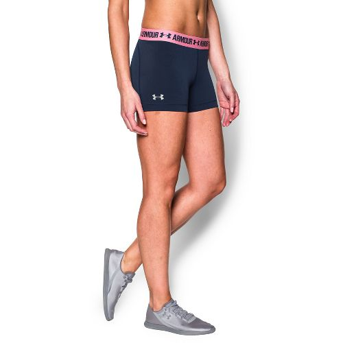 Womens Under Armour Heatgear Armour Shorty Compression & Fitted Shorts - Navy Seal/Pink Craze L ...