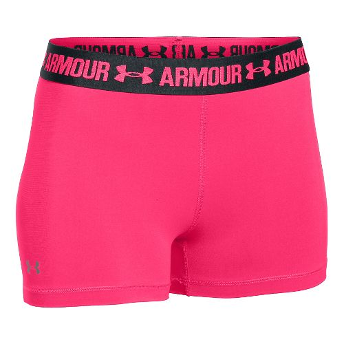 Womens Under Armour Heatgear Armour Shorty Compression & Fitted Shorts - Red/Anthracite M