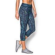 Womens Under Armour Heatgear Armour Capri (Printed) Pants - Magenta/Sky Blue S