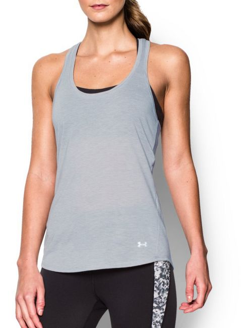 Womens Under Armour Streaker Sleeveless & Tank Technical Tops - True Grey Heather XL