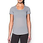 Womens Under Armour Threadborne Streaker Short Sleeve Technical Tops - True Grey Heather M