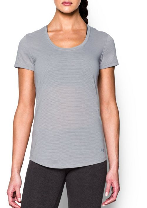Womens Under Armour Threadborne Streaker Short Sleeve Technical Tops - True Grey Heather S