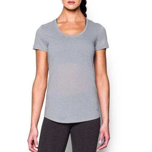 Womens Under Armour Threadborne Streaker Short Sleeve Technical Tops - True Grey Heather M